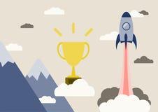 开始企业概念、平的设计、金战利品火箭云彩和山 免版税库存图片