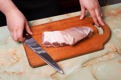 开始剪切肉 库存照片