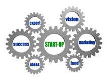 开始和企业在银灰色齿轮的概念词 库存图片