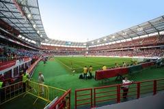 开始在俄罗斯国家队和象牙海岸之间的比赛 免版税库存照片