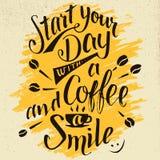 开始您的与咖啡和微笑书法的天 库存照片
