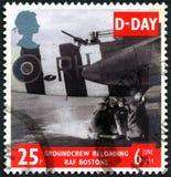 攻击开始日英国邮票 免版税库存照片