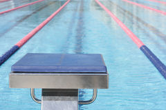 开始游泳的块池 免版税图库摄影