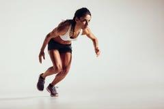 开始的少妇跑和加速 库存照片