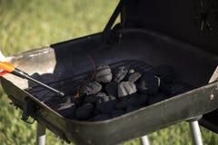 开始的木炭发火焰 图库摄影