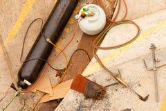 开始设备准备好的站点对焊接工作 免版税库存图片