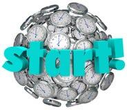 开始词时钟时间开始比赛或挑战 免版税库存图片