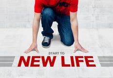 开始跑到新的生活,准备好开始对活动或事务 免版税库存照片