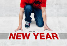 开始跑到新年,准备好开始对活动或事务 库存照片