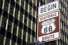 开始路线66在芝加哥 免版税库存照片