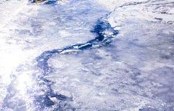开始冻的河解冻和流动 免版税图库摄影