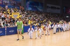 开幕式--第八GoldenTeam杯跆拳道友好的竞争 免版税库存图片