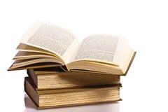 开张与反映的书 免版税库存照片