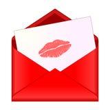 开张与唇膏亲吻的红色信包在信函 向量例证