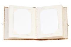 开张在丝毫查出的老象册 免版税库存照片