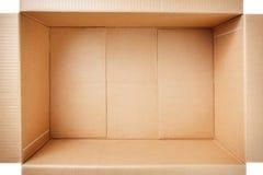 开张在空白背景查出的纸板箱 顶视图 库存照片