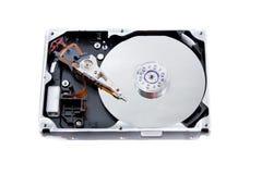 开张在空白背景的硬盘驱动器部件 免版税库存照片