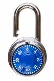 开张有蓝色拨号的号码锁 免版税库存照片