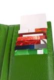 开张绿色皮革钱包 免版税库存图片