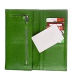 开张绿色皮革钱包 免版税库存照片