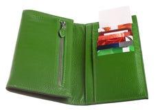 开张绿色皮革钱包 库存图片