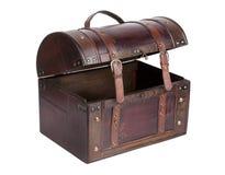 开张袋子做的ââof皮革和木头 免版税图库摄影