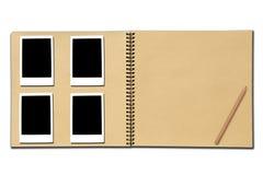 开张铅笔照片写生簿 免版税库存图片