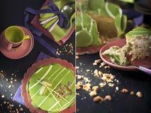 开心果奶油甜点和五颜六色的碗筷 免版税库存图片