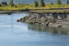 开户侵蚀在水牛城叉子河, Moran,怀俄明 图库摄影