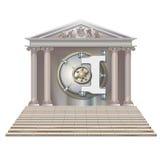 开户保险柜在形式房子里在白色背景 库存图片