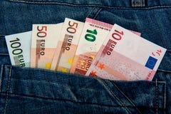开户欧洲欧元五重点一百货币附注绳索 金钱笔记 欧洲经济 免版税库存照片