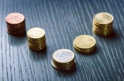 开户欧洲欧元五重点一百货币附注绳索 硬币在黑暗的背景 欧洲货币  金钱平衡  从硬币的大厦 硬币不同 免版税库存图片