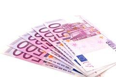 开户欧洲欧元五重点一百货币附注绳索 免版税库存照片