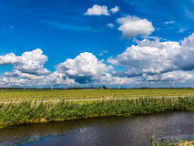 开拓地和风轮机在弗莱福兰省,荷兰 免版税库存照片