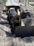 开掘开放路污水站点的建筑 免版税库存照片