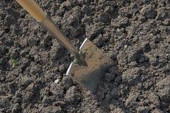开掘的土壤锹 免版税库存图片