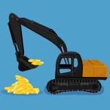 开掘硬币的堆挖掘机,传染媒介例证 免版税图库摄影