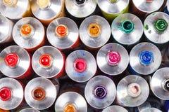 开放专业油漆顶视图在管的 多色 库存照片