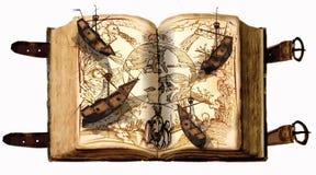 开放书,开放地图,老风船-冒险 免版税库存照片