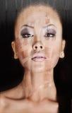 开放亚洲妇女画象的脖子 库存照片