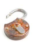 开放古色古香的挂锁 免版税图库摄影