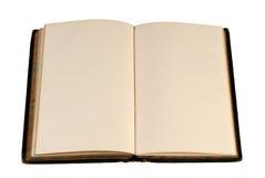 开放古色古香的空白的书 库存图片