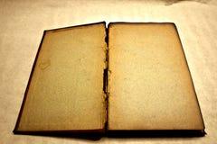 开放古色古香的空白的书 库存照片