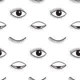 开放和闭合的眼睛传染媒介无缝的样式 图库摄影