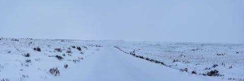 开放大草原风景在路下的冬天 库存照片