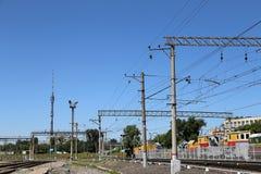 开放平台Rizhsky火车站(vokzal的Rizhsky,里加驻地)是九个主要火车站之一在莫斯科,俄罗斯 免版税库存照片