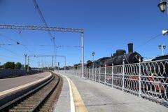 开放平台Rizhsky火车站(vokzal的Rizhsky,里加驻地)是九个主要火车站之一在莫斯科,俄罗斯 库存图片