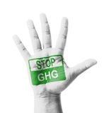 开放手上升了,被绘的中止GHG (温室气体)标志 免版税库存图片