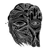 开放抽象的艺术品,接近的眼睛和头脑人有自然元素的 库存照片