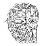 开放抽象的艺术品,接近的眼睛和头脑人有自然元素的 库存图片